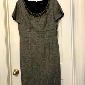 NWT Tahari dress with beaded accents & silver. 12